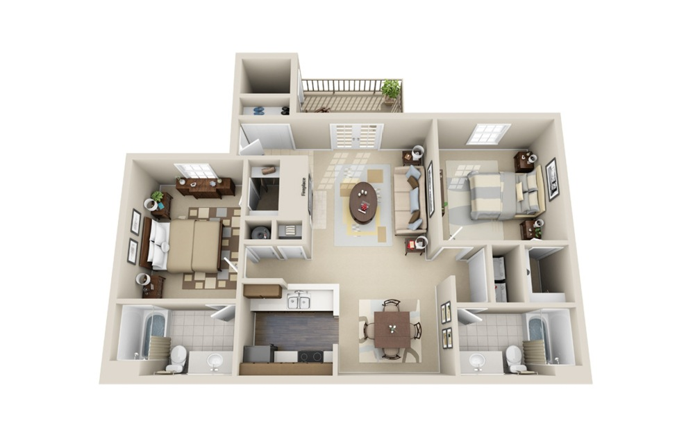 The Antebellum - 2 bedroom floorplan layout with 2 baths and 1175 square feet.