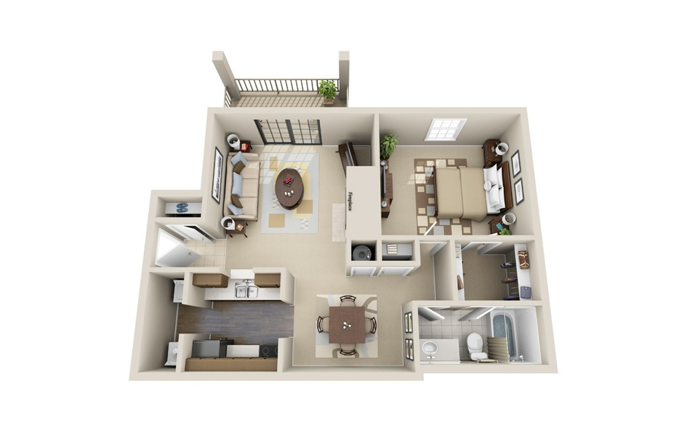 The Arlington - 1 bedroom floorplan layout with 1 bath and 850 square feet.