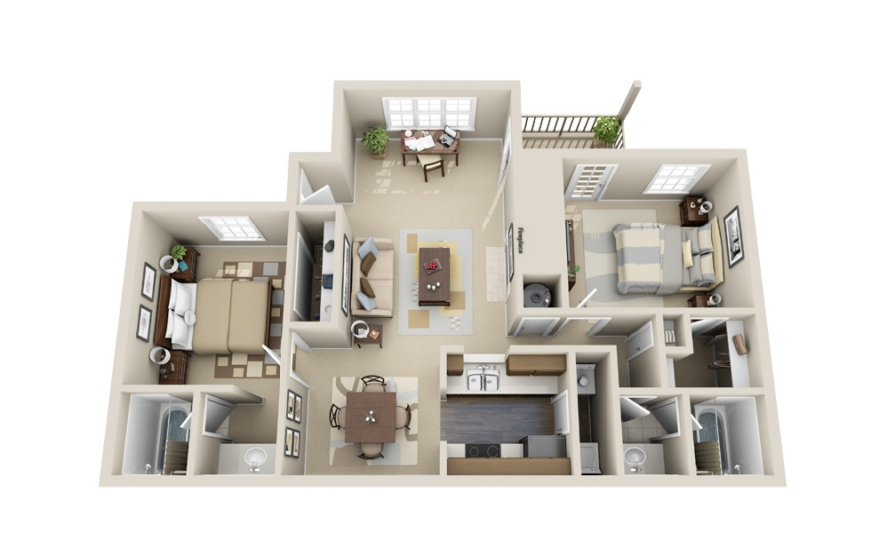 The Donnelly - 2 bedroom floorplan layout with 2 baths and 1150 square feet.