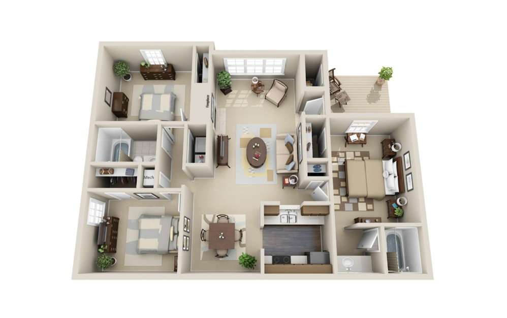 The Highland - 3 bedroom floorplan layout with 2 baths and 1300 square feet.