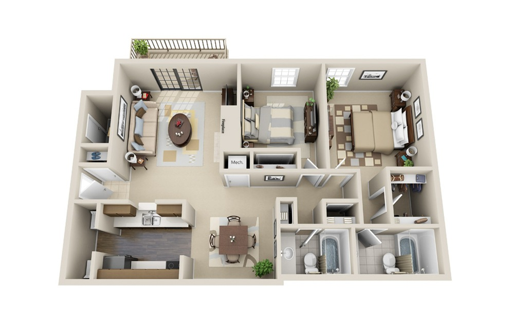 The Traditional - 2 bedroom floorplan layout with 2 baths and 1110 square feet.