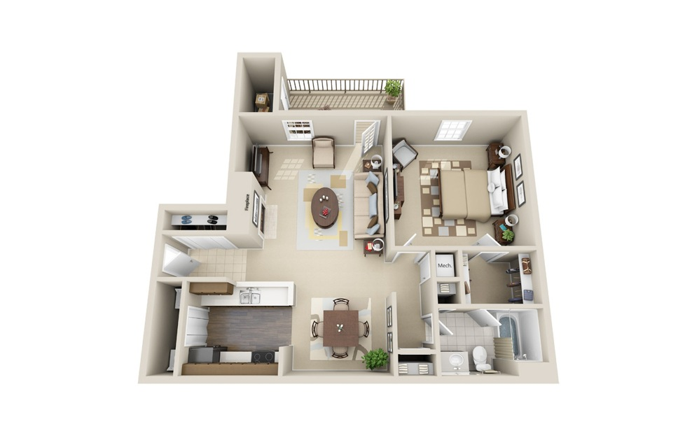 The Tutwiler - 1 bedroom floorplan layout with 1 bath and 875 square feet.