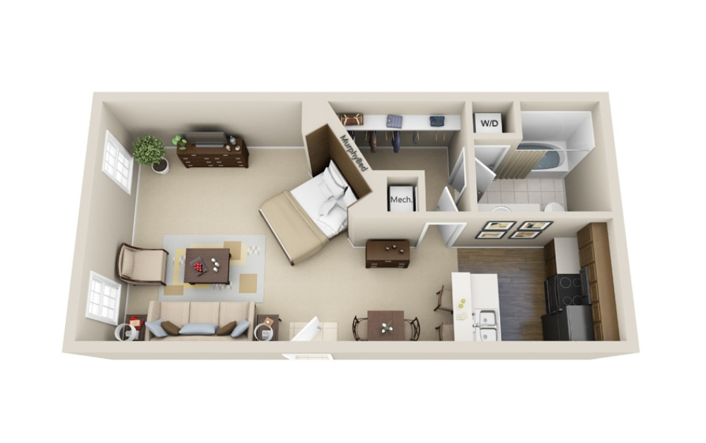 The Vulcan - Studio floorplan layout with 1 bath and 550 square feet.